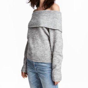 H&M gray off-shoulder sweater
